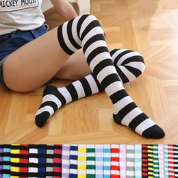 Wholesale Girls Winter 2pcs - 21 Colors Striped Knee High Socks for Big Girls Adult Japanese Style Zebra Thigh High Socks Spring Stockings 2pcs pair CCA7139 50pair