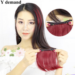 Wholesale Wholesale Clip Extension Bangs - 3pc Clip In On like Human Hair Bang Fringe Hair Pieces Extension Natural Synthetic Hair Accessories