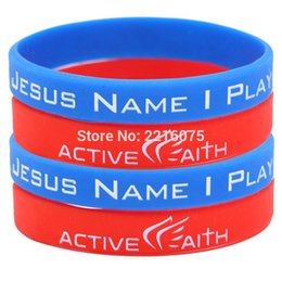 Wholesale Silicone Cuffs - Wholesale- 60pcs red and blue IN JESUS NAME I PLAY wristband silicone bracelets free shipping