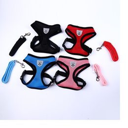 Wholesale Puppy Collar Leash Set - Breathable Mesh Small Dog Pet Harness and Leash Set Puppy Vest Pink Red Blue Black For Chihuahua WA1817