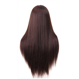 Wholesale Doll Mannequin Head - 60cm hairdressing dolls head very long yaki hair Female Mannequin Hairdressing Styling Professional Training Head Mannequin Head + Clamp
