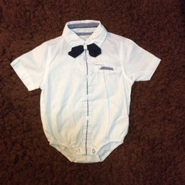 Wholesale Bow Tie Shirts - Infant Boys Clothes White Shirt Romper With Bow Tie Short Sleeve European Style Summer Baby Bodysuit Clothes