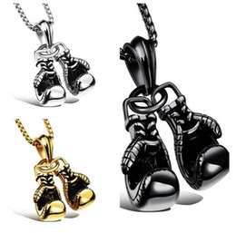 Wholesale Steel Boxing Gloves - fashion insider Charming Jewelry 2pcs set Biker Boxing Glove Pendant Stainless Steel Necklace Cool Men's Gifts Free Chain