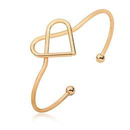 Wholesale Golden Silver Cuff Bangle Bracelet - New European Love Heart Open Cuff Bangle Fashion Bracelets Wedding Jewelry Rose Golden Bead Bangle Bracelet Lovers Gift