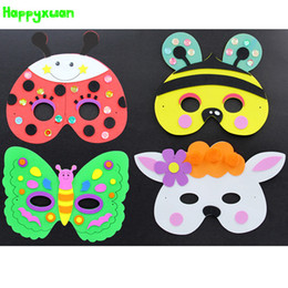 Wholesale Bee Mask - Happyxuan 5pcs lot DIY Eva Cartoon Animal Mask Kids Party Handmade Crafts Kits Frog Prince Butterfly Bee Ladybug Rabbit