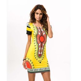 Wholesale Traditional Ethnic Dress - High quality Women Traditional African Print Dashiki Bodycon Dress Sexy Short Sleeve Ethnic Pattern Slim Mini Dress Vestidos