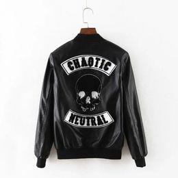 Wholesale Short Black Leather Coats Women - Wholesale- Women long sleeve bassball jacket new 2016 black short coat zipper Skull streetwear ladies fashion clothes female bomber jackets