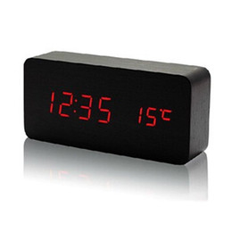Wholesale Table Electronic Display - Wholesale- Upgrade LED Alarm Clock,despertador Temperature Sounds Control LED display,electronic desktop Digital table clocks Stylish