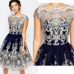 Wholesale Sexy Back Mini Dresses - Vintage Short Prom Dresses 2017 Lace Embroidery Homecoming Dresses Bateau Neckline Fashion Skirts Cap Sleeve Evening Party Dresses