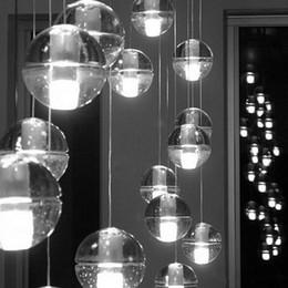Wholesale Head Lamp 3w - LED Crystal Glass Ball Pendant Lamp Meteor Rain Ceiling Lights 5 7 14 26 36 Heads Stair Droplight Chandelier Lighting 3W Led Bulbs