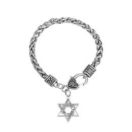 Wholesale Star David Silver Charms - Hot Fashion Silver Plated Hebrew Engraved Star of David Charm Bracelet For Gift Jewelry