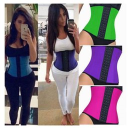 Wholesale Women Waist Shapers - 4 Steel Boned Inner Shape Waist Training Corsets Shapers Sport Waist Trainer Women Slimming Body Shaper Rubber Corset Fitness S-3XL