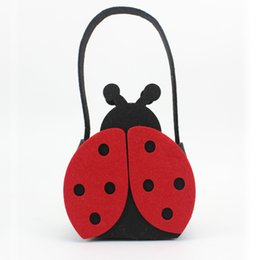 Wholesale Cute Tote Bags For Kids - Wholesale- Cute Kids candy bag,2087 Design Children Felt Ladybird Handbag and Toy collection bag Lovely Tote Bag for your girl