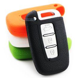 Wholesale Shell Barrel - 2015 new Silicone Remote Key Fob Cover for Hyundai IX35 sonata KIA k5 key protection case key shell keychain Free Shipping