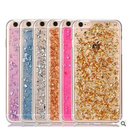Wholesale Glitter For Phones - Gold foil glitter phone case soft tpu shockproof luxury bling protective back cover for iPhone X 6 6s 7 8 Plus Note 8
