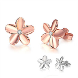 Wholesale Crystals For Low Price - Hypoallergenic Earrings Low Price Rose Gold Platinum Plated Single Crystal Sweet Flower Stud Earrings Czech Drill Jewelry for Women Party