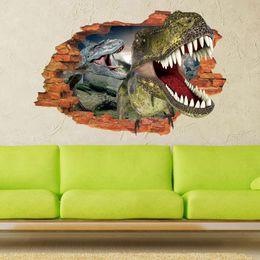 Wholesale Dinosaur Stickers - Hot sale Creative 3D effect dinosaur decorative Wall Stickers DIY Home Decoration Modern Art Murals for Living Room