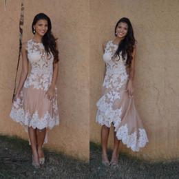 vestidos casuales Rebajas Estilo Casual Alto Bajo Homecoming Dress Sleevless Jewel Neck Lace Champán Tul Shoprt Vestido de fiesta vestido de noivas Tamaño personalizado