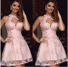 Wholesale Dresses Knee Lenth - Charming Pink A Line Short Prom Homecoming Dresses High Neck Floral Handmade Flowers Sleeveless Party Gowns for Girls Knee Lenth Mini Dress