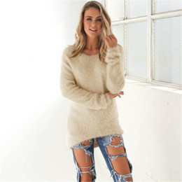 Wholesale Dog Jumper Sweaters - Wholesale- Luck Dog Womens Casual Solid Long Sleeve Jumper Sweaters Blouse