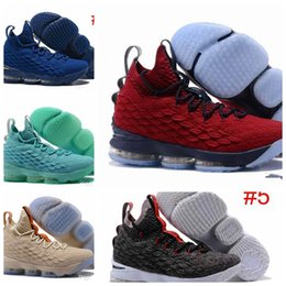 Wholesale Gray Canvas Fabric - 2017 new Gray black Lebron 15 Basketball Shoes Lebron shoe Arrival LBJ Sneakers 15s High Cut Mens Casual Shoes James 15 size us8-us12