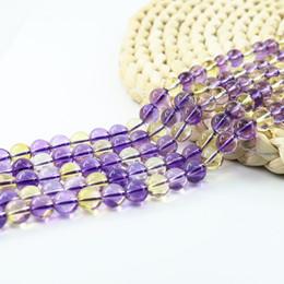 Wholesale Amethyst Beads Strand - Amethyst Citrine Quartz Synthetic Round Semi-Precious Gemstone Beads 4 6 8 10mm Full Strand 15 inch L0581#