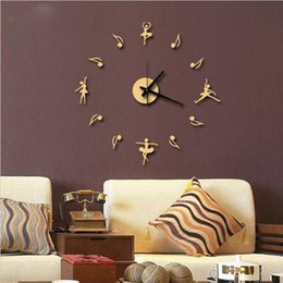 Wholesale Fly Clock - Wholesale- free shipping New 3D Music Notes When Combined Flying High-end Diy Ballet Creative Clock Background Wall Clock Watch