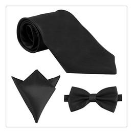 Wholesale Neckties Pocket Squares - 2017 New Fashion Mens Polyester Skinny Neck Ties Satin Solid Color Necktie Tie Hanky Handkerchief Pocket Square 3pcs Set Men Gift Ideas