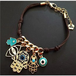 Wholesale Evil Eye Amulets - Fashion Evil Eye HAMSA Gold Plated Leather Cord Bracelets Kabbalah Lucky Eye Charm Amulet Jewelry Hamsa Hand Evil Eye Multi Pendant Bracelet