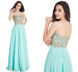 Wholesale Strapless Maternity Bridesmaid Dresses - Cheap Long Sweetheart 4 Color Chiffon Prom Dresses 2017 Sexy Backless Gold Appliques Chiffon Skirt Evening Dresses Formal Party Gowns CPS319