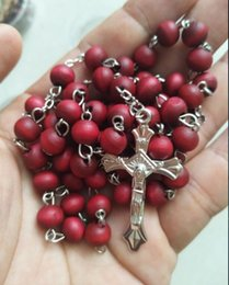 Wholesale Rosary Bead Jewelry - 12pcs rose scented perfume wood Rosary Beads INRI JESUS Cross Pendant Necklace Catholic Fashion Religious jewelry