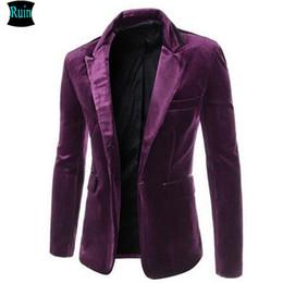Uomini di velluto nero velluto online-All'ingrosso-Ruin 2017 nuovo arrivo Moda casual giacche da uomo velluto vestito di abbigliamento slim fit vino rosso maschio giacche blazer nero viola