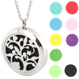 Wholesale Christmas Tree Chain - 10pcs 30mm plain magnet tree of life Aromatherapy Essential Oil surgical Stainless Steel Perfume Diffuser Locket Necklace with chain