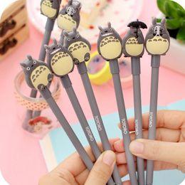 Wholesale Totoro Pen - Wholesale-New 0.5mm black Kawaii Cartoon Totoro Gel pens Cute Creative Stationery For Students japanese School Supplies Doraemon pens