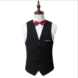 Wholesale mens vests sale - Wholesale- Plus Size 5XL 6XL Mens Vest 4 Buttons Solid Formal Suit Vests Black White Red Slim Fit Men Dress Sleeveless Waistcoat Sale