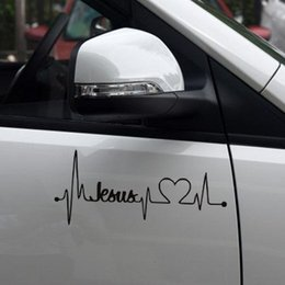 Wholesale Plastic Mirror Material - 17.8*7.7cm Car Truck Sticker Jesus Heartbeat Monitor Car Decal Stickers For Car Tailgate