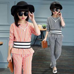 Wholesale Peplum Korea - 2017 Korea Style Summer Girls Vertical Striped Cotton Vest Set Kid Fashion Long Sleeve Clothing 2 Pcs Children Vest Tops + Pants Set Outwear