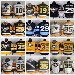 Wholesale ron francis jersey - Vintage Pittsburgh Penguins 10 Ron Francis 19 Bryan Trottie 29 Andre Fleury 35 Tom Barrasso Black White Yellow NHL Ice Hockey Jerseys