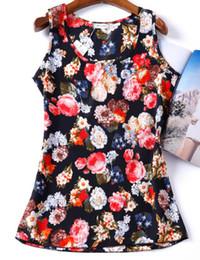 Wholesale Bird Print Chiffon - Wholesale-Hot Sale T Shirt Women 2016 Summer Bird Printed Women Tops Sleeveless Female T-shirts Plus Size Tshirt Chiffon Tee Shirt Femme