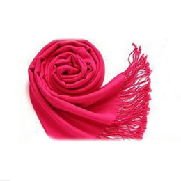 Wholesale Wool Scarf Large - Wholesale- Winter Women Trendy Wrap Fashionable Scarf Wool Blends Soft Warm Long Large Shawl Tassels-rose Red