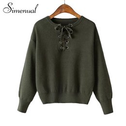 Wholesale Jumper Tie - Wholesale-2016 Fashion lace up autumn sweater women long sleeve solid slim tie neck sweaters and pullovers ladies knitwear jumper top sale