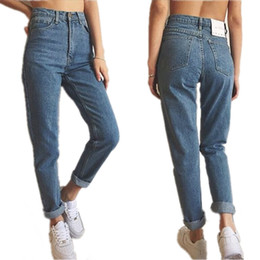 Wholesale Paints Female Jeans - Wholesale- New fashion european American star style blue color cotton high waist vintage denim pants  jeans female