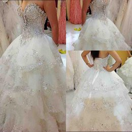 Wholesale heavy wedding dresses - sweetheart heavy beading wedding dresses lace up back tulle tiered A line bridal gowns floor length garden wedding vestidos custom made