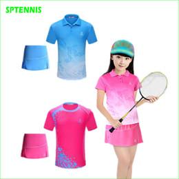 badminton t-shirts großhandel Rabatt Großhandelsmädchen-Badminton-Anzüge mit Kindert-shirt und Sport-Rock trocknen schnell