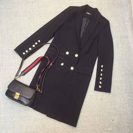 Wholesale Double Fork - Free shipping new high-end women's wholesale coat double-breasted suit open fork sleeves long coat