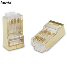 Wholesale Rj45 Shielded - Amvykal Top Qulaity Gold Metal Shield RJ-45 RJ45 8P8C CAT5 CAT5E Modular Plug Adapter Ethernet Lan Cable Network Connector