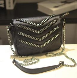 Wholesale Retro Shoulder Hand Bag - factory brand handbag decorative chain hand bag personality woman fashion flip chain punk single shoulder bag Retro Leather Shoulder Bag
