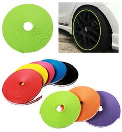 Wholesale Stickers For Car Wheels - 8 meter car wheel protector rim cover ring tire glue sticker For car Motorcycle 10 Color