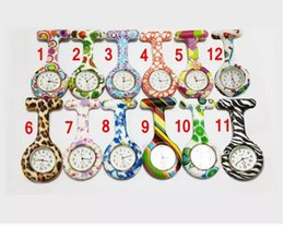 Wholesale Battery Medical - Silicone Nurses Brooch Colorful Prints Tunic Fob Medical Nurse Watch Free Battery Cute Patterns Fob Quartz Doctor Watch Pocket 12Color