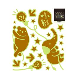 Wholesale Elephant 3d Stickers - Diy bear elephant kids wall sticker for kids rooms glow in the dark wall stickers home decor living rooms fluorescent posters